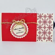Invitatii Rustice cu Motiv Traditional Rosu, Invitatii Nunta Rustice cu Motiv Traditional Rosu, Invitatii Botez Rustice cu Motiv Traditional Rosu Gift Wrapping, Gifts, Gift Wrapping Paper, Presents, Wrapping Gifts, Favors, Gift Packaging, Gift