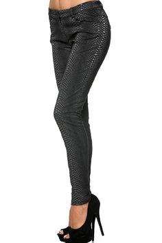Textured faux snake leather jeggings with pockets and button closure.   Textured Snake Pants by Amy's Allie . Clothing - Bottoms - Jeans & Denim - Jeggings Ohio