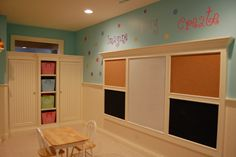 Kids Playroom Design~ Cork, Dry-erase, and Chalk Boards. The playroom definitely needs some revamping! Playroom Design, Playroom Ideas, Playroom Organization, Wall Design, Playroom Paint, Playroom Decor, Basement Ideas, Wall Decor, Wall Art