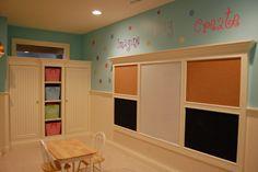 dry erase/chalkboard/cork board wall, playroom