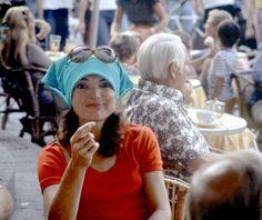Jackie in famous Capri Piazzetta