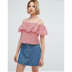 Parisian Gingham Cold Shoulder Top (24 CAD) ❤ liked on Polyvore featuring tops, red, red top, floral tops, open shoulder top, floral crop top and blue crop top