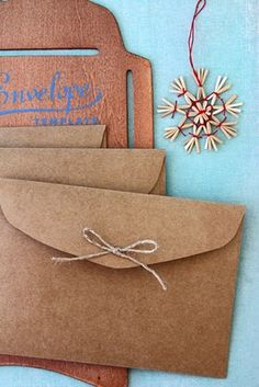 Handmade kraft paper envelopes.