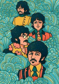 Les Beatles, Beatles Art, Yellow Submarine Art, Submarine Drawing, Submarine Craft, Submarine Museum, Pop Art, Hippie Art, Band Posters