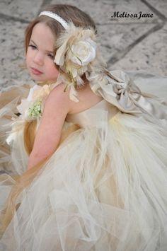 Champagne Cream Dream Flower Girl Tutu Dress