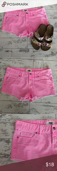 Victoria's Secret Pink Shorts Size 4 Hot Pink Cute as can be Victoria's Secret Pink shorts. Hot pink or neon pink color. Tattered look and these shorts are a size 4. These cuties will get you ready for summer! PINK Victoria's Secret Shorts Jean Shorts