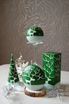 Christmas Candle Hand Painted Green Cone With White от LessCandles