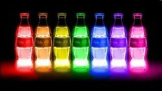 Coca-Cola bottles - neon glow