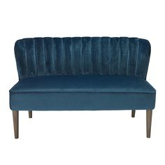 This stylish compact 2 seat sofa is made from a crushed velvet material. Available in 3 colours, blue, pink and grey this would be a great addition to your living space. Chair also available. W 1300 mm X H 795 mm X D 680 mm.