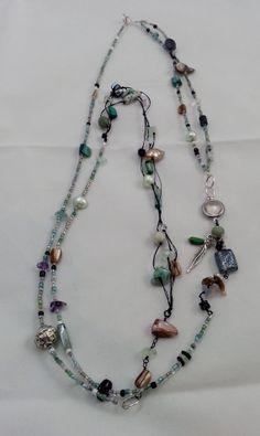 Green Beige Purple Black Long Necklace or Bracelet by AurabyPortia
