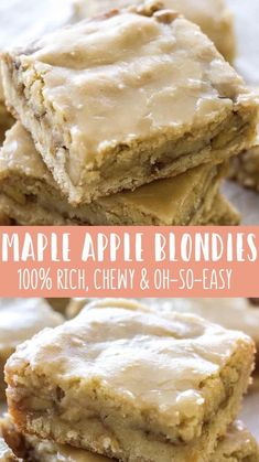 These chewy Maple Glazed Apple Blondies taste like sweet apple pie with a warm maple icing! This homemade apple blondie recipe is the perfect fall dessert! Its easy, super flavorful, and always a crowd pleaser! Maple Apple Blondies are one of the easiest Desserts For A Crowd, Mini Desserts, Just Desserts, White Desserts, Health Desserts, Desserts With Apples, Smores Dessert, Dessert Bars, Blondie Dessert