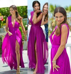 High Slit Fuchsia V Neck Long Chiffon Prom Evening Dress Cwb0196