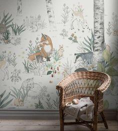 Magic Forest Mural White Wallpaper Sample