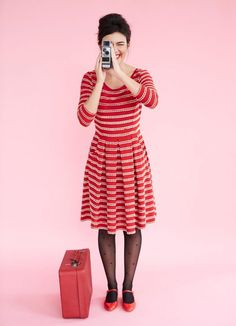 Gigi is all about retro glamour. In a timeless and feminine fit and flare shape with a scallop edge detail stripe, this dress looks as at home by the Rivier Joanie Clothing, Heart Tights, Red And White Dress, Patterned Tights, Collar Dress, Cute Fashion, Striped Dress, Fit And Flare, Feminine
