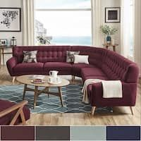 Niels Danish Modern Tufted Fabric L-Shaped Sectional by MID-Century Living (Tawny Port Red), Natural Living Room Sofa Design, Living Room Trends, Living Room Sets, Living Room Modern, Living Room Furniture, Living Room Designs, Living Room Decor, Apartment Furniture, Danish Modern