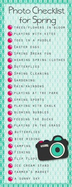 Spring Photo Checklist from Shawna Clingerman's blog.