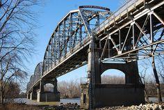 Harmony Way Bridge - across the Wabash River to Illinois from Indiana;  photo by Indiana Landmarks, via Flickr