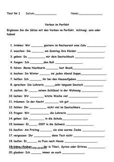 Test Verben im Perfekt – Parrot German Grammar, German Words, Spanish Lessons, Teaching Spanish, Spanish Activities, French Lessons, Teaching French, German Resources, Grammar Exercises