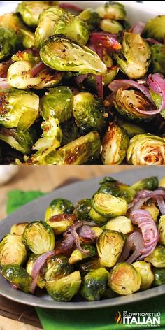 Crispy Brussel Sprouts, Cooking Brussel Sprouts, Brussel Sprouts And Onions Recipe, Garlic Sprouts, Vegetarian Recipes, Cooking Recipes, Healthy Recipes, Crockpot Recipes, Side Dishes