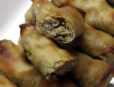 baked chicken eggrolls with sweet peanut dipping sauce. looks good to me!