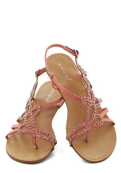 That Girly Glimmer Sandal - Flat, Faux Leather, Pink, Solid, Cutout, Studs, Beach/Resort, Good, Strappy, Summer