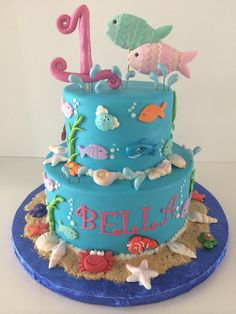 First Birthday Cake   Under the Sea   Fish   Seashells   Gallery   Sugar Divas Cakery   Orlando   Cupcakes   Custom Cakes  Www.sugardivascakery.com