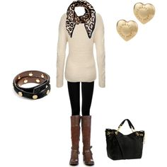 Loving the simple: white sweater, black leggings + BROWN boots | Polyvore