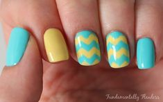 Yellow And Turquoise Chevron Nails