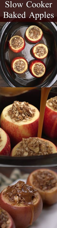 Try these easy baked apples in the slow cooker. They hit all the right notes: oats, caramel, cinnamon. So simple.
