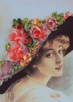 """Quadro """"Lady""""1 made with ribbon embroidery technique. Retro style."""