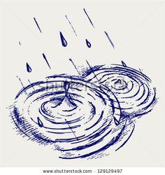 Rain drops rippling in puddle. Doodle style by Aleks Melnik, via Shutterstock