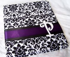 Black and White Damask with Purple Eggplant Ribbon Wedding Guest Book