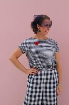 Pattern: Flint Pants by Megan Nielsen with Drop Sleeve Top by The Avid Seamstress Fabric: Navy and white gingham from Spotlight Starlight Headband by: Lauren J Ritchie Shoes: Wittner Stakes Day, Spring Racing Carnival, Navy And White, Spotlight, Gingham, Custom Made, Sisters, Two By Two, Spring Summer