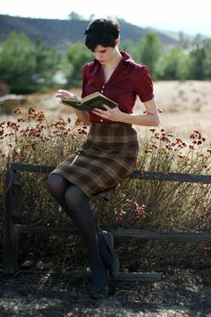 Cranberry blouse paired with plaid pencil skirt | ModCloth Style Gallery.
