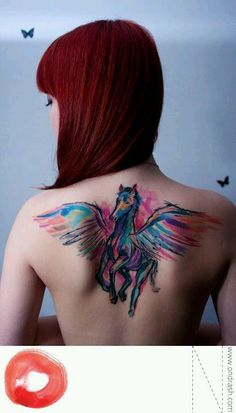 Watercolor tattoo Hmm maybe turn my Pegasus tattoo I have now, into a water colors tattoo kinda like this