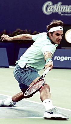 Roger Federer on the stretch