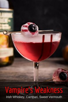 Halloween Cocktails: The Vampire's Weakness riffs on the classic combo of bourbon, Campari and sweet vermouth with the Irish whiskey treatment—upping the ratios slightly from the traditional equal parts.