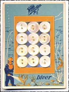 ButtonArtMuseum.com -  Antique Pearl Button Card w Neat Graphics Diver in Suit Ocean Bottom