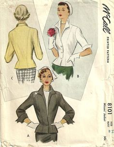 Vintage 50s Sewing Pattern McCall 8101 Jacket by studioGpatterns, $16.50
