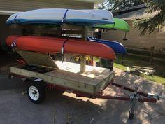64 Best Ideas For Kayak Camping Trailer Canoe Trip, Canoe And Kayak, Kayak Fishing, Fishing Tips, Fishing Boats, Kayak Trailer, Trailer Diy, Trailer Build, Kayak Rack