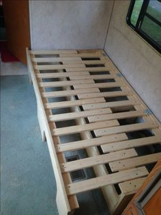 Interesting idea, could be adapted to banquette or window seat, double layer of memory foam mattress seating then expands to be full width mattress.  Bunk bed or guest bed or day bed alternative