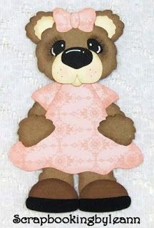 Girl Bear Paper Piecing Pink Dress on Ebay <3
