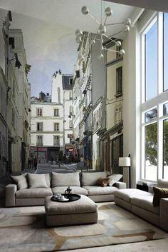 Large 3D wallpaper mural European minimalist living room sofa ...