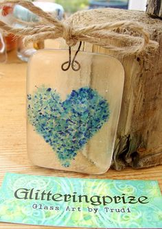Fused Glass Suncatcher Ocean Blue Love Heart UK by shineon2, £5.25