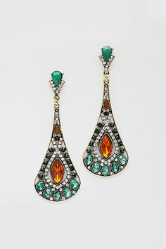 blue-sapphire-earrings 18k-yellow-gold-clip-on-diamond Alexandra Earrings in Emerald Crystal on Emma Stine Limited