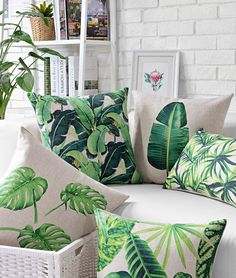 Throw Pillows Vintage Decorative Cushion Cover Green Leaf Palm Case Couch Sofa is part of Vintage Room Decor Pillows - Tropical Home Decor, Tropical Interior, Tropical Houses, Tropical Furniture, Tropical Kitchen, Tropical Bathroom, Estilo Tropical, Tropical Style, Tropical Colors