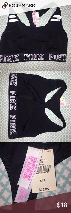 VS PINK Black unlined sports bra VS PINK Black unlined sports bra. Size S 34 A-C 32 C-D PINK Victoria's Secret Intimates & Sleepwear Bras