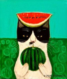 ~ Pepe Shimada ~ tuxedo cat with watermelon Art And Illustration, Illustrations Posters, I Love Cats, Crazy Cats, Watermelon Cartoon, Ugly Cat, Frida Art, Cute Animal Drawings, Cat Colors