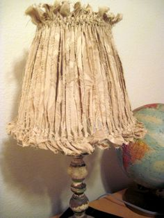 Shabby Chic Ripped Rag Lampshade Cottage. $22.00, via Etsy.