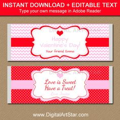 Valentines Day Chocolate Bar Wrappers EDITABLE by digitalartstar Candy Bar Wrapper Template, Candy Bar Labels, Candy Bar Wrappers, Valentines Day Chocolates, Valentines Day Party, Valentine Ideas, Chocolate Bar Wrappers, Chocolate Bars, Thing 1